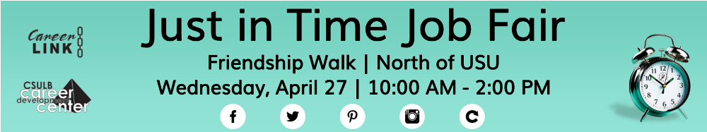 Just in Time Job Fair Friendship Walk | North of USU Wednesday, April 27 | 10:00 AM - 2:00 PM